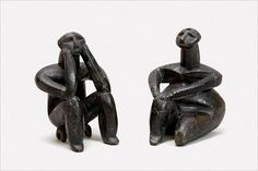 The 'Thinker' and Female Figurine From Cernavodă, fired clay,  Hamangia culture, Cernavodă, 5000-4600 BCE, National History Museum of Romania, Bucharest (click through for good article. rw)