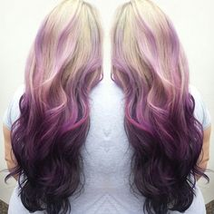 Cool Ideas of Lavender Ombre Hair and Purple Ombre This is the effect I love just with different colors. Good example of reverse ombre.This is the effect I love just with different colors. Good example of reverse ombre. Reverse Ombre Hair, Brown Ombre Hair, Ombre Hair Color, Cool Hair Color, Hair Colors, Purple Ombre, Purple Hair, Violet Ombre, Dark Purple