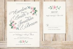 Printable Wedding Invitation and RSVP Card ivory by plpapers, $20.00
