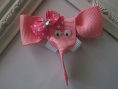 Elephant Ribbon Sculpture Hair Clip Pink Elephant by creationslove, $3.50