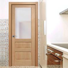 Contemporary 1 Pane - 2 Panel Oak Veneered Door with Frosted Safety Glass, Prefinished, the grain pattern is a special feature of this door. #frostedglassdoor #internalglazeddoors #mouldedoakdoor