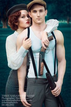 "Hallowen Costume Couples A great ""Bonnie & Clyde"" engagement session by Three Nails Photography Bonnie Clyde, Bonnie And Clyde Photos, Bonnie And Clyde Halloween Costume, Bonnie Parker, Hallowen Costume, Couple Halloween Costumes, Halloween Ideas, Costume Ideas, Halloween Decorations"