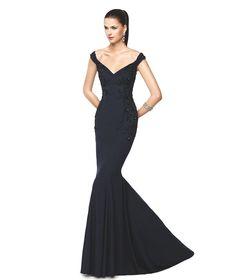 Nelva siyah renkli, uzun kokteyl elbisesi - Pronovias 2015
