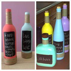 DIY chalkboard bottles