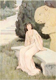 Beauty and the Beast -- Katharine Pyle -- Fairytale Illustration Illustrations, Illustration Art, Beauty And The Beast Art, Nursery Rhymes, Folklore, Fairy Tales, Canvas Art, Artist, Painting