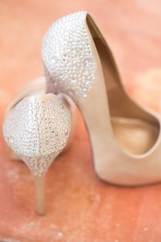 Pretty Embellished nude bridal shoes perfect for any color scheme Bridesmaid shoes @Daphne Colepaugh  and @Constance Kayser  These would be perfect!
