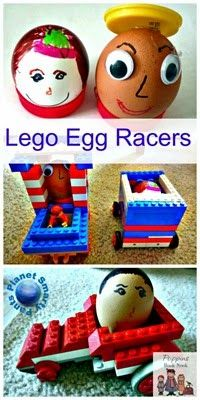 #Lego Egg Racers.  Build a lego car for your egg, and then race to see whose is fastest!  #STEM