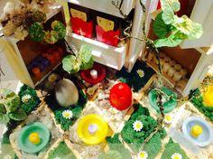 Window display Eggs and wax