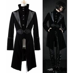 Black Edwardian Gothic Style Long Jackets Windbreakers Clothing for Men Women