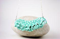 PolkaDot Ruffle Porcelain Pendant Turquoise by PepperAndFarley, $18.00