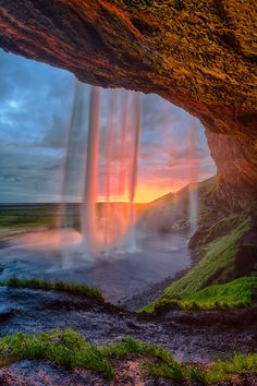 Waterfall in pink, Seljalandsfoss, Iceland
