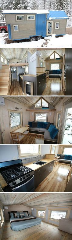 mobile Granny pods Colorado Builders Have Found the Perfect Gem with their Blue Sapphire Home _ SimBLISSity Tiny Homes . The Blue Sapphire is a 204 square foot house built on a trailer with a ca Tyni House, Tiny House Living, Tiny House Movement, Tiny House Plans, Tiny House On Wheels, Building A Tiny House, Tiny Mobile House, Tiny House Nation, Tiny Spaces