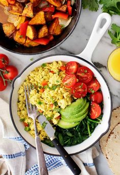 This easy tofu scramble recipe is a perfect vegan substitute for scrambled eggs. It's soft and flavorful, seasoned with cumin, turmeric, and nutritional yeast. A great healthy, plant-based breakfast!