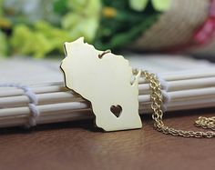 Wisconsin Necklace - Wisconsin Pendant - 18k gold plated State Necklace - State Charm - Map necklace $12.99