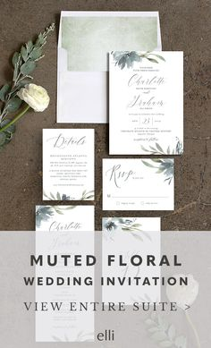 Gorgeous Muted Floral wedding invitation suite with romantic florals and beautiful calligraphy font.