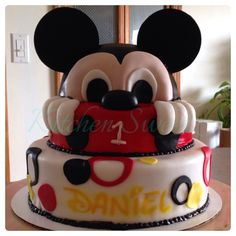Mickey Mouse cake made for a cute little one year old. Red velvet with cream cheese. - Custom made by: www.kitchensweetz.com