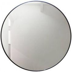 Deze ronde spiegel met mat zwarte omlijsting past perfect in een industriële badkamer - Cielo I Catini Spiegel Ø120 cm Matt Black