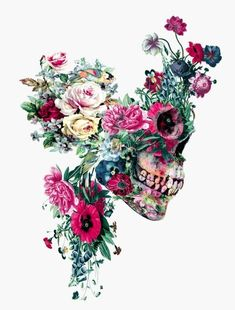 "Really love this except for the skull in profile, I prefer ""face on"". The flower detail is gorgeous and I particularly like the strong colours."