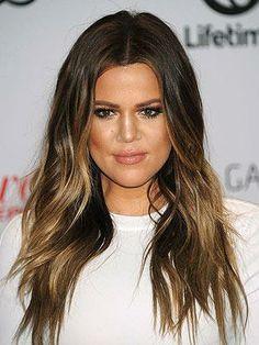 Khloe Kardashian long ombre hair