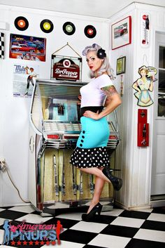 Black Dots / Turquoise Wiggle & Jive Pencil Skirt - Dismantled Fashions Rockabilly Pin Up Psychobilly. $49.95, via Etsy.