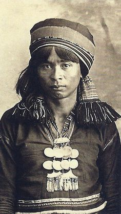 "Philippines ~ Northern Luzon (Ifugao) | Wearing a bead neck/chest shell ornament, locally known as ""sipattal"" by the Isneg people"
