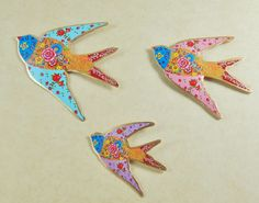NEW Set of 3 Flying Swallows Retro Wall Hanging Bird Vintage Folk Floral Metal