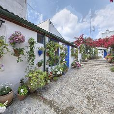 Patio de la calle Marroquies, 6. El suelo es de cemento y las casas se encuentran a uno y otro lado formando callejuelas interiores que nos transmiten la sensación de retroceder en el tiempo.