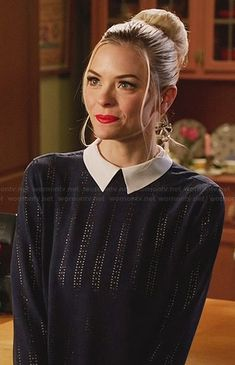 aaf7a4ea4f Lemon s blue laser cut top with white collar on Hart of Dixie. Outfit  Details