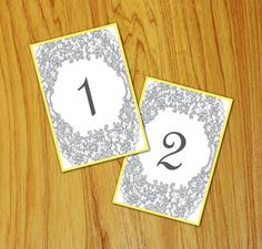 printed lace table numbers at wedding reception
