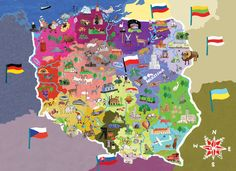 illustrated-map-of-poland. Teo each side hands Lithuania and Poland Poland Map, Poland Travel, Poland Food, Ukraine, Poland Culture, Polish Language, World Thinking Day, Country Maps, Voyage Europe