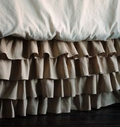 Ruffles Linen Bed Skirt ... a great way to add sophisticated softness to your bedroom. #aclearplace