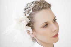 Weddings Bridal Accessory / Bow / Old Hollywood Style / Handmade Fascinator / Hair Clip / Comb Cream / Ivory Head Piece / Fascinator.. £69.00, via Etsy.