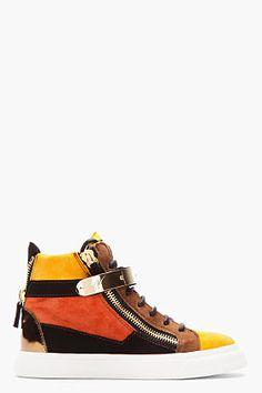 GIUSEPPE ZANOTTI Brown suede colorblocked London sneakers
