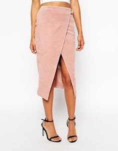 Enlarge ASOS Wrap Pencil Skirt in Suede with D-Ring