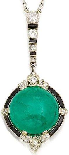 An art deco emerald, onyx and diamond pendant, ...
