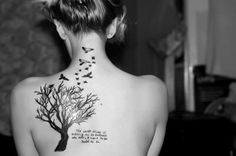 Love the tree and the birds, i would like it smaller though, maybe a wrist tattoo or on the rib cage?