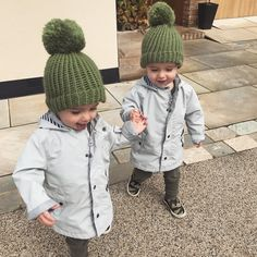 💚Happy National Sibling Day💚 wearing our latest pompom hats made my @house_of_merino ✨ P.S.. these two are getting so cheeky, can you tell!? 😝🙈 #nationalsiblingday #bestfriends #houseofmerino