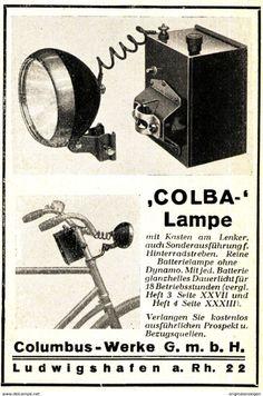 Original-Werbung/ Anzeige 1929 - COLBA RADLAMPE / COLUMBUS-WERKE LUDWIGSHAFEN - Ca. 65 X 100 Mm - Werbung