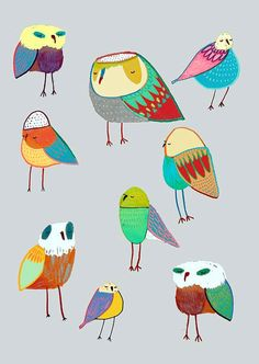 Bird nursery decor and childrens wall art. ''The Birds''. More