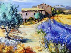 Michel VEZINET   Galerie BO - galerie d'art à Clermont-Fd Watercolor Landscape, Landscape Art, Landscape Paintings, Provence France, Lavender Fields, Acrylic Art, Painting Inspiration, Impressionism, Wallpaper