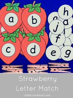 Strawberry letter match for letter recognition and fine motor development. Preschool Workbooks, Preschool Classroom, Classroom Themes, Classroom Activities, Kindergarten, Early Learning Activities, Autism Activities, Summer Activities For Kids, Educational Activities
