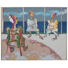 Large Robert Weimerskirch Painting 1971 | From a unique collection of antique and modern paintings at https://www.1stdibs.com/furniture/wall-decorations/paintings/