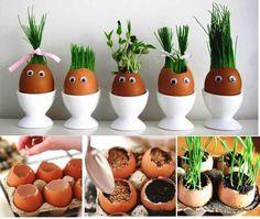decoration for Easter :) Easter Crafts For Kids, Diy For Kids, Funny Eggs, Rabbit Crafts, Kitchen Ornaments, House Plants Decor, Plantation, Egg Decorating, Egg Shells