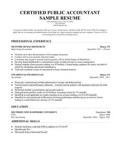 Accounting (CPA) Resume Sample