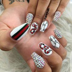 Gucci nails - Gucci Nails - Ideas of Gucci Nails - Gucci nails Glam Nails, Dope Nails, Beauty Nails, Fun Nails, Gucci Nails, Nail Art Designs, Ballerina Nails, Luxury Nails, Diamond Nails