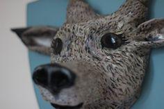 Paper Mache Deer Head Wall Sculpture, Trophy Head with Hooks, Free UK Shipping!