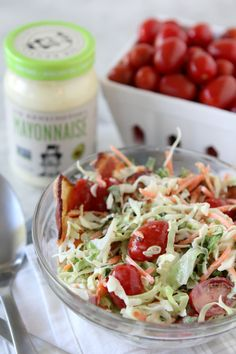 BLT Cole Slaw from the Whole Smiths. Avocado oil mayonnaise based, paleo friendly, gluten-free and easy to make Whole30 compliant.