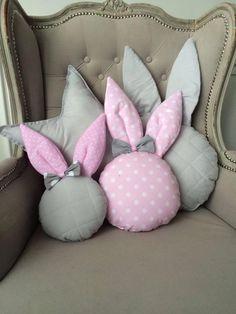 Rabbit pillow rabbit pillow nursery decor handmade pillow kids pillow p Bunny Crafts, Felt Crafts, Easter Crafts, Fabric Crafts, Diy And Crafts, Crafts For Kids, Bow Pillows, Sewing Pillows, Kids Pillows