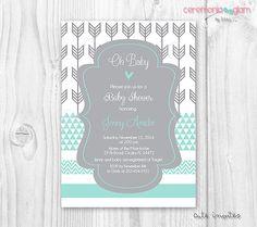 Baby shower boy aqua mint and grey arrow, chevron, geometric printable invitation
