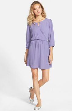 Free shipping and returns on Lush 'Gigi' Wrap Look Dress at Nordstrom.com. A wrap-look bodice and cute three-quarter sleeves enhance the ultra-girly appeal of a flowing woven dress.